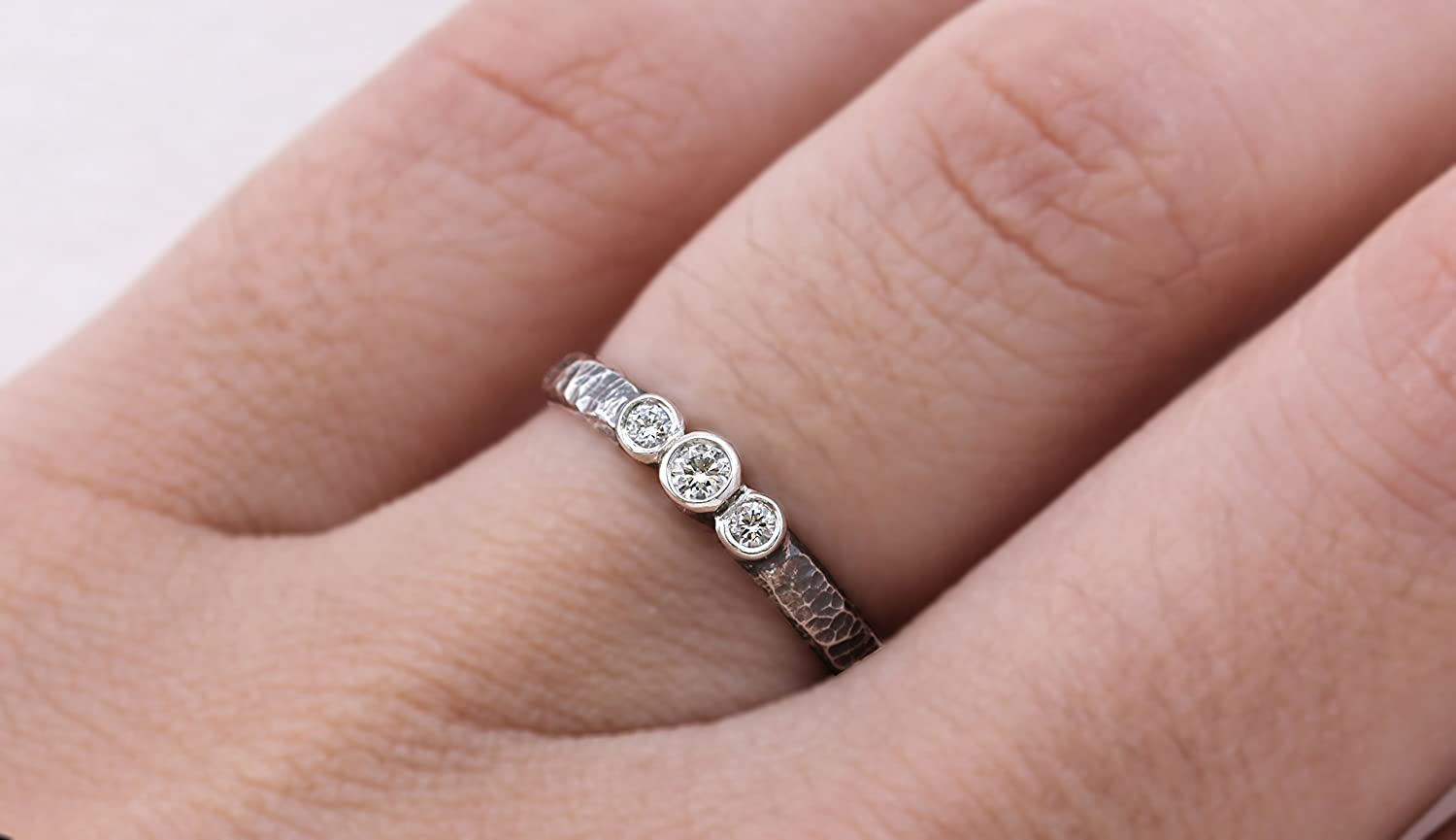 Amazon.com: Textured Ombre Three Diamond Ring - Conflict Free ...