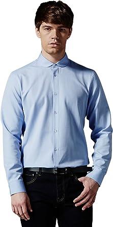 AM London Cutaway Penny cuello camisa azul de los hombres ...