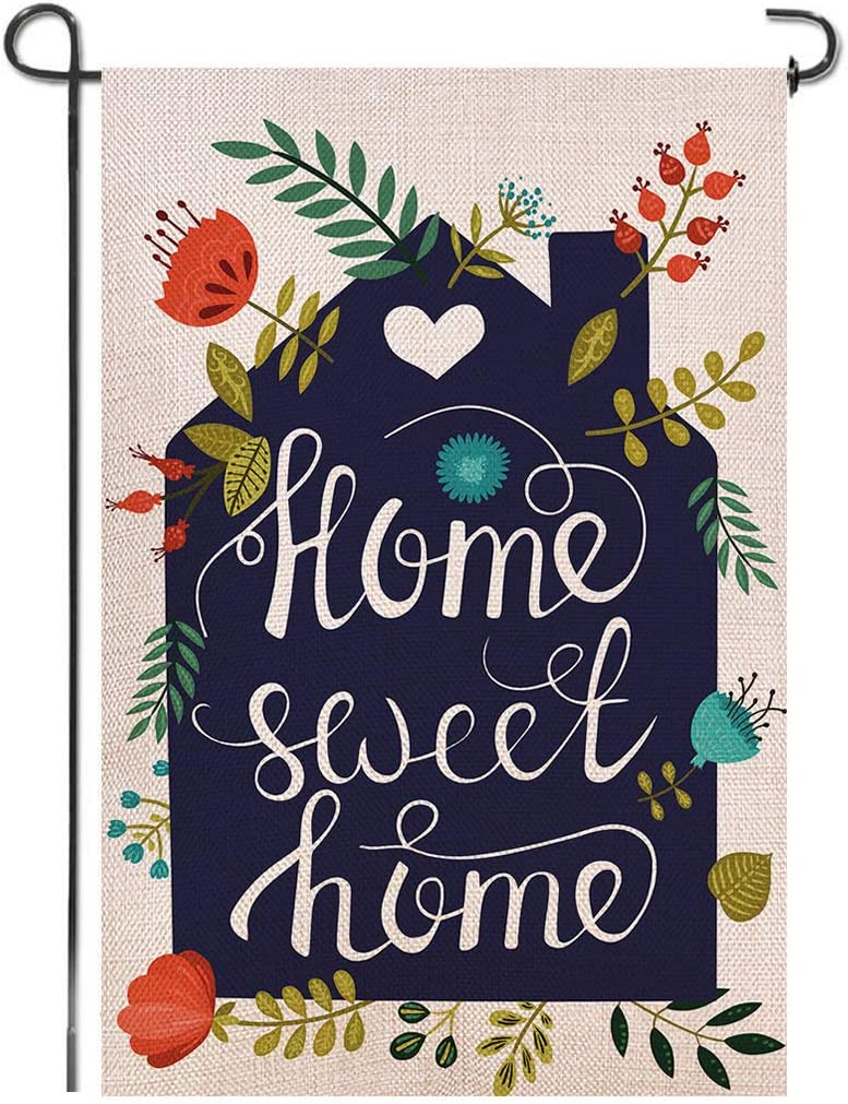 Shmbada Home Sweet Home Burlap Garden Flag, Double Sided Premium Material, Spring Summer Decor Outdoor Flowers Banner Decorative Small Flags for Yard Lawn Patio Farmhouse, 12.5 x 18.5 inch