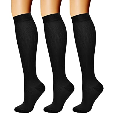db78a21f8a1e47 Amazon.com: Compression Socks (3 Pairs) 15-20 mmHg is Best Athletic ...