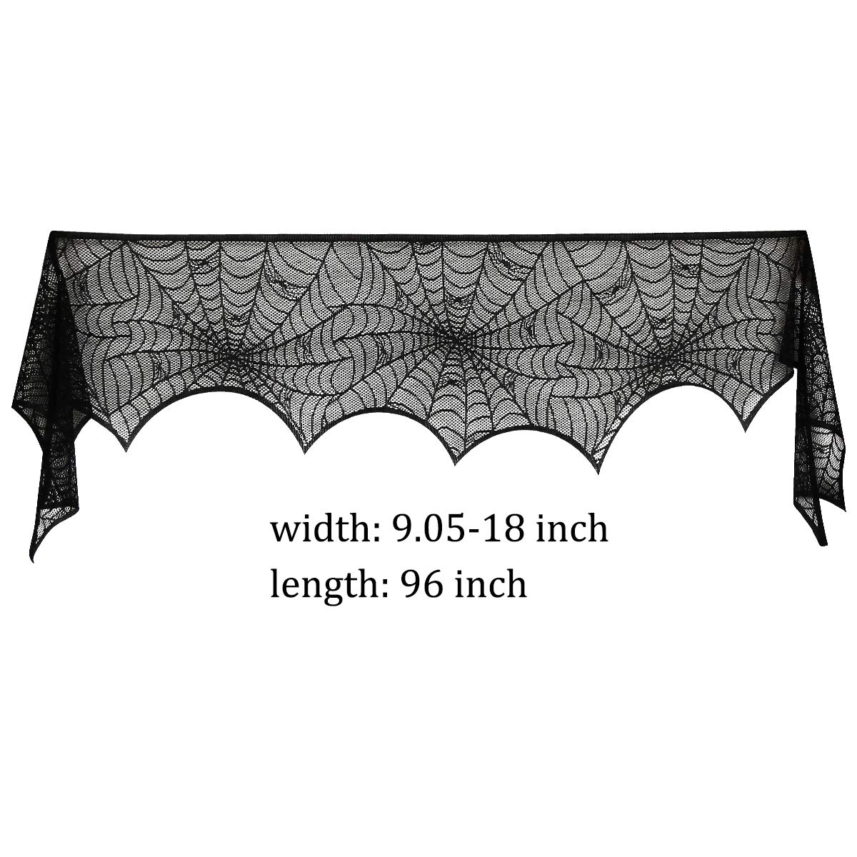 HSicily Halloween Spiderweb Cobweb Fireplace Mantle Scarf Cover Black Lace Spider Web Mantle for Party Supplies Door Window Decoration