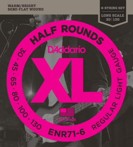 D'Addario ENR71-6 Half Round Bass Guitar Strings, Regular Light, 30-130, (130 Long Scale)
