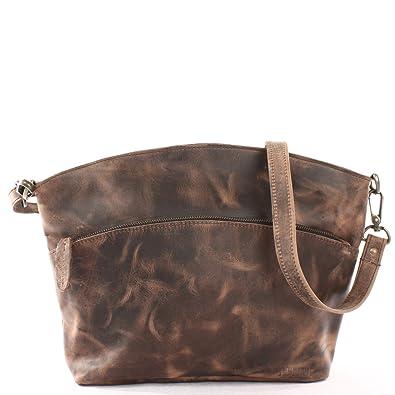 e6c90e1afc260 LECONI Umhängetasche für Damen Schultertasche Freizeittasche Damentasche  Frauen Ledertasche Handtasche Vintage-Style Leder 36x27x8cm schlamm
