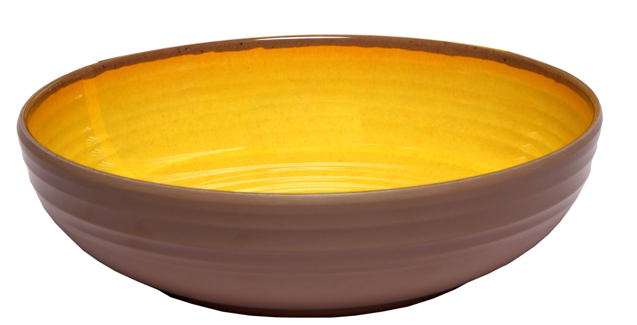 Melange 6-Piece 100% Melamine Pasta Bowl Set (Clay Collection ) | Shatter-Proof and Chip-Resistant Melamine Pasta Bowls | Color: Yellow
