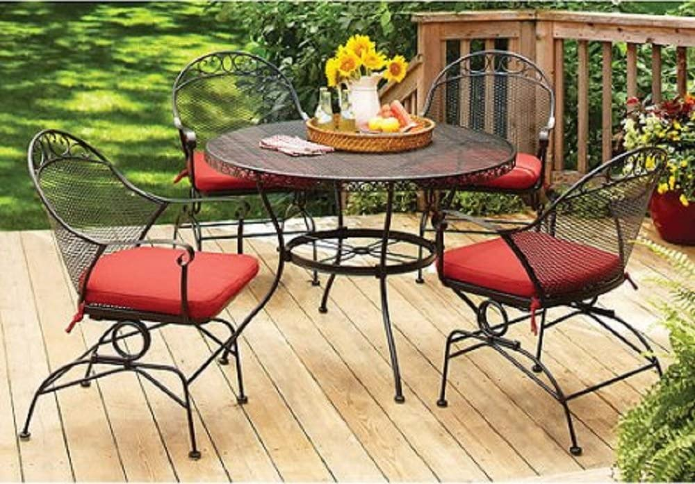 Amazon Com Better Homes And Gardens Clayton Court 5 Piece Patio Dining Set Wrought Iron Table And 4 Chairs Red Cushions Seats 4 Garden Outdoor
