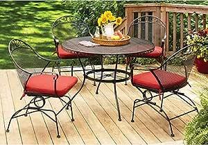 Juego para terraza o jardín de 5 piezas de hierro forjado - mesa y 4 sillas, cojines de los asientos en color - Better Homes and Gardens Clayton Court: Amazon.es: Jardín