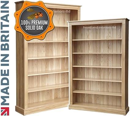 100% roble macizo librería, 182,88 cm x 121,92 cm ajustable artesanal de almacenamiento de estantería, estantes. Corazón roble. Sin paquetes planos, ...