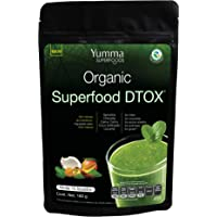 Organic Superfood DTOX by Yumma Superfoods, Mezcla verde de superfoods en polvo 180 gr, 100% orgánico y natural