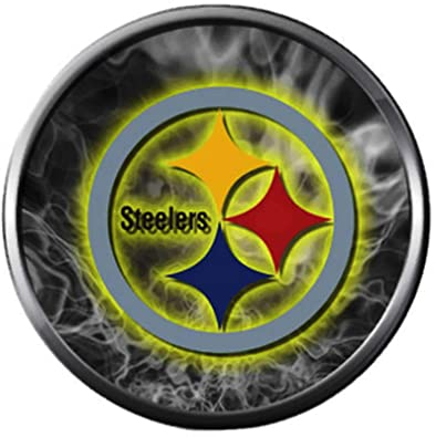 782843d0 Image Unavailable. Image not available for. Color: NFL Logo Smokey Pittsburgh  Steelers Football Fan Team Spirit 18MM - 20MM Fashion Jewelry Snap Charm
