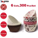 iMustech Cupcake Liners, 6 Colors 300 Pcs/Set Standard Size Baking Cups, Muffin Liners, Cupcake Paper, Nonstick Muffin Cups Baking Molds for Christmas, Parties,Wedding