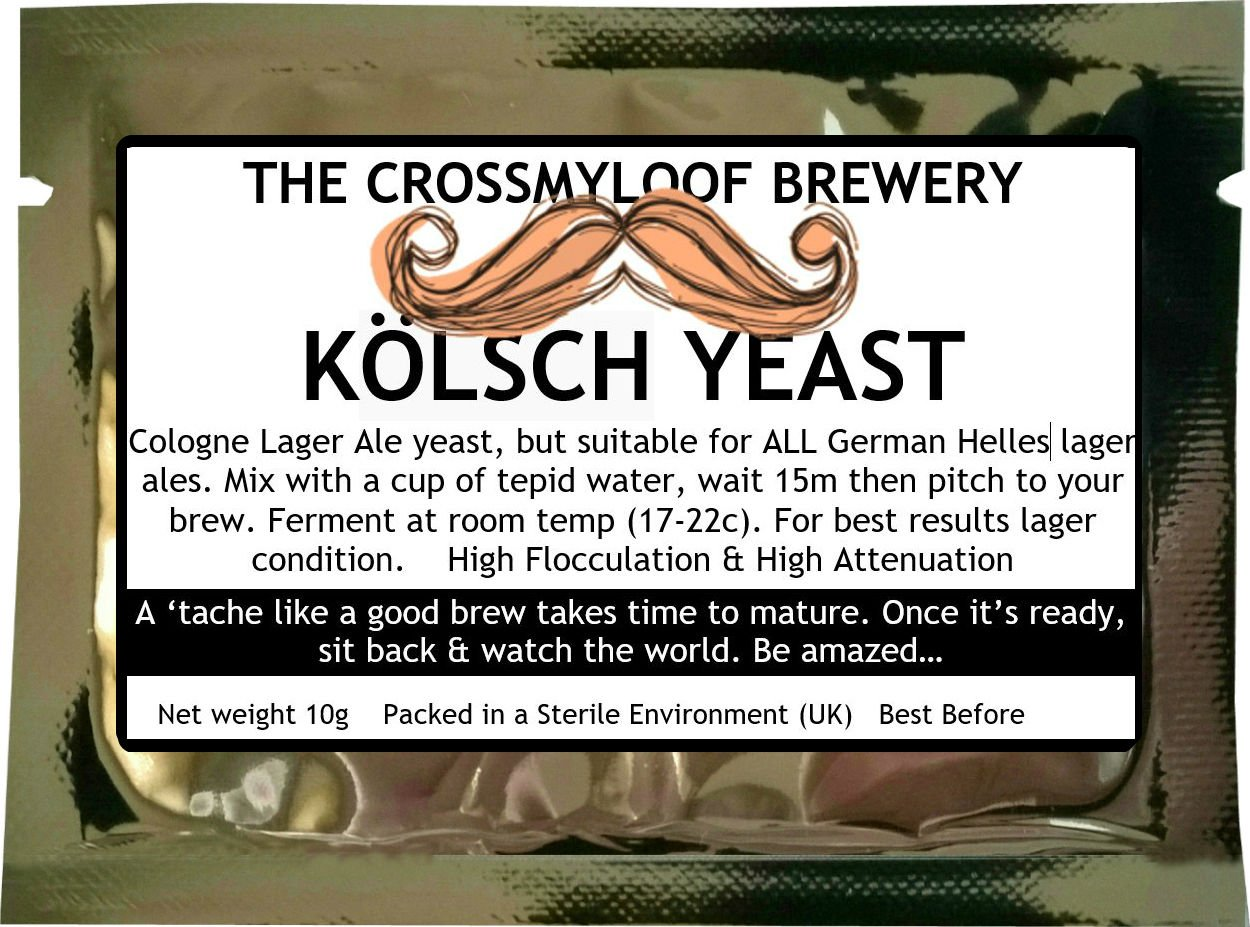 10g Home Brew Beer Yeast. Kolsch Lager Ale Yeast for Light German Ales. 3, 5 and 10 Packs Available Too. The Crossmyloof Brewery