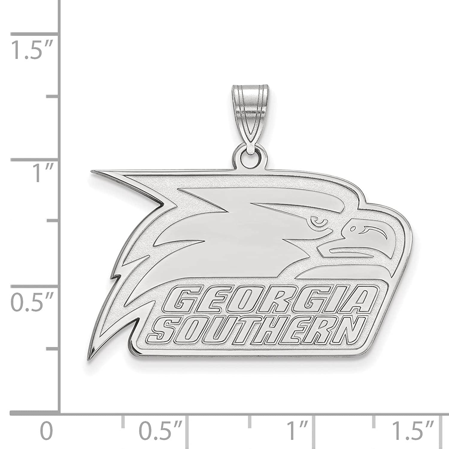 925 Sterling Silver Rhodium-plated Laser-cut Georgia Southern University Large Pendant