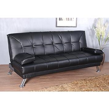 HOMCOM Sofa Cama Silla 188x105x85cm Plegable 2 en 1 Cuero Sintetico Negro Nuevo