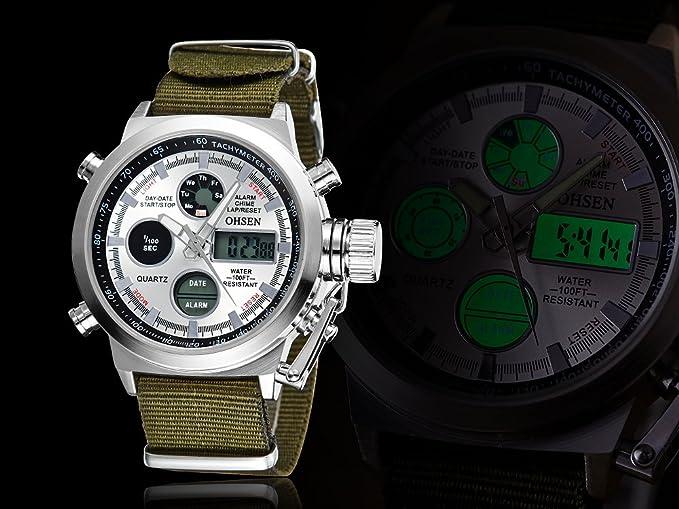 Amazon.com: OHSEN Military Army Type White Analog Digital Quartz Nylon Band Wrist Watch: Watches