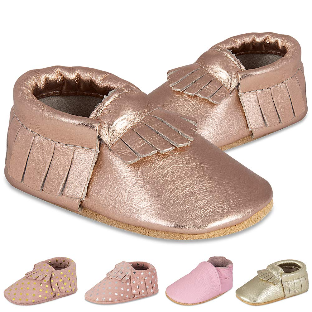 YALOX Baby Girl Moccasins Cute Toddler Boy Loafer Flats Soft Sole Prewalker First Walking Leather Infant Shoes(LS-Rose/Gold,Size6.5) by YALOX
