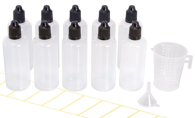 10 frascos cuentagotas de 100 ml con embudo gratis, vaso dosificador y etiquetas. Botella de goteo plástico para e-liquidos y líquidos