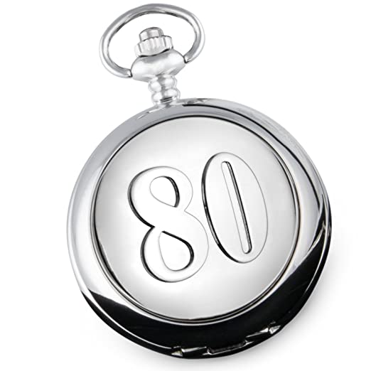 De Walden Mens 80th Birthday Quality Pocket Watch Gift With 80 Feature Case Front In A Branded Satin Lined Box Amazoncouk Watches