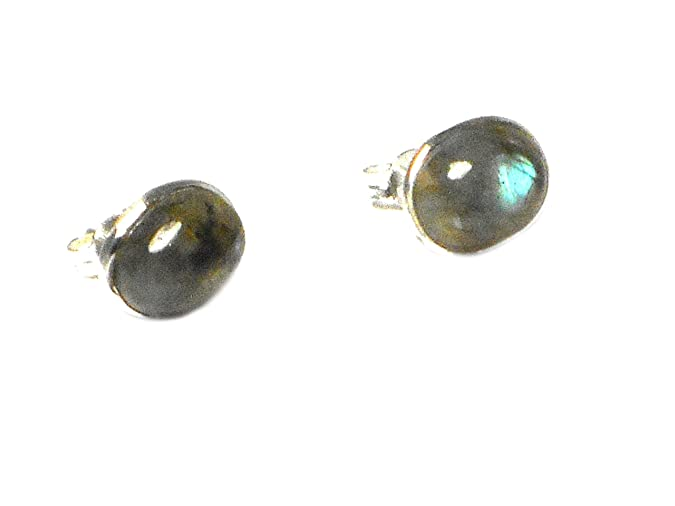 LABRADORITE Oval Sterling Silver Gemstone Ear Studs 925 - 8 x 10 mm x3Jq5