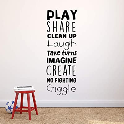 """Vinyl Art Wall Decal - Play Share Clean Up Laugh Take Turns Imagine No Fighting Giggle - 53"""" x 19"""" - Cute Modern Decals for Kids Toddlers Home Bedroom Playroom Apartment Nursery Decor Stickers: Home & Kitchen"""
