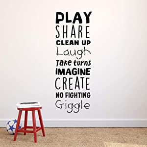 "Vinyl Art Wall Decal - Play Share Clean Up Laugh Take Turns Imagine No Fighting Giggle - 45.5"" x 16.5"" - Cute Modern Decals for Kids Toddlers Home Bedroom Playroom Apartment Nursery Decor Stickers"