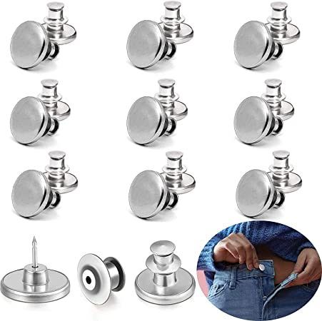 Button Pins for Jeans,9 Sets 17mm Instant Replacement Jean Buttons No Sew Metal Craft Buttons Waist Buckle to Extend or Reduce Pants Waist Size