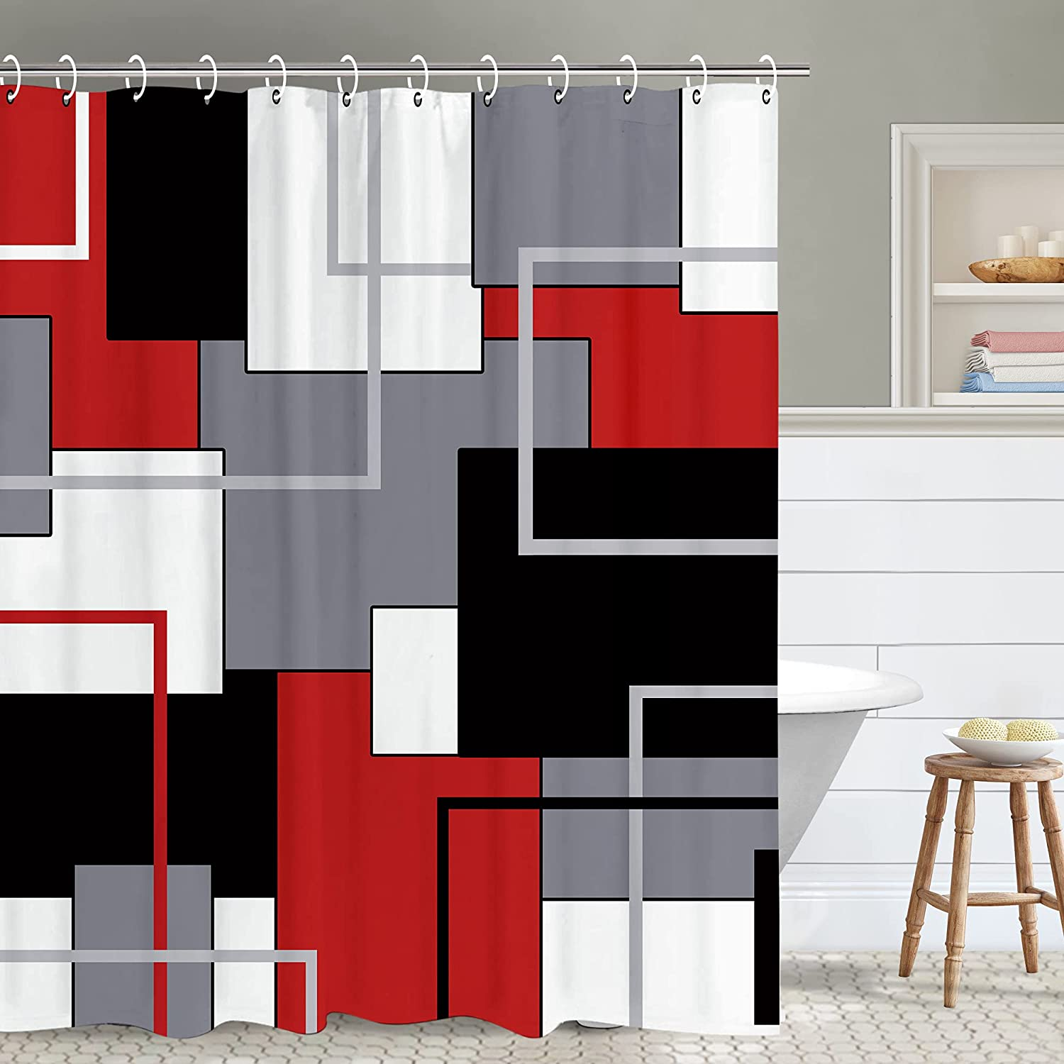 Red Geometry Shower Curtain,Red and Black Modern Shower Curtains Set with 12 Hooks, Waterproof Abstract Shower Curtain, Decor Art Bathing Curtain,72x84inch