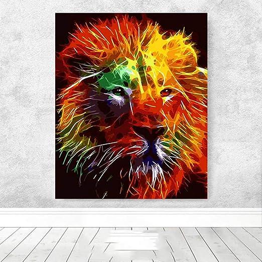 WSNDGWS Colorido León Animal Pintura al óleo Pintada a Mano ...