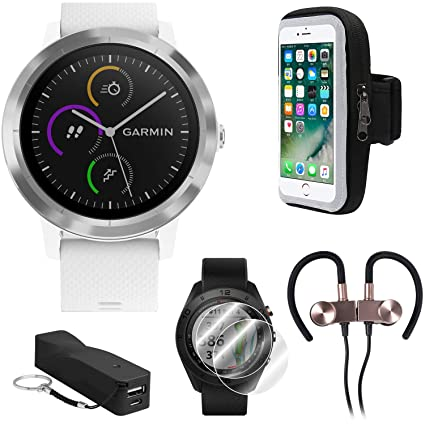 Garmin Vivoactive 3 GPS Fitness Smartwatch w/Deco Gear Runner Bundle - White+Stainless