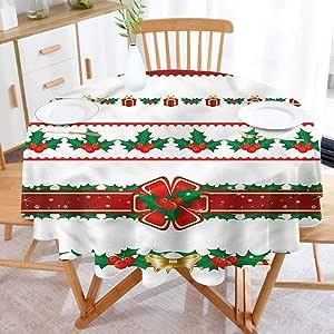 BarronTextile Christmas Family Round Tablecloth Ornate ...