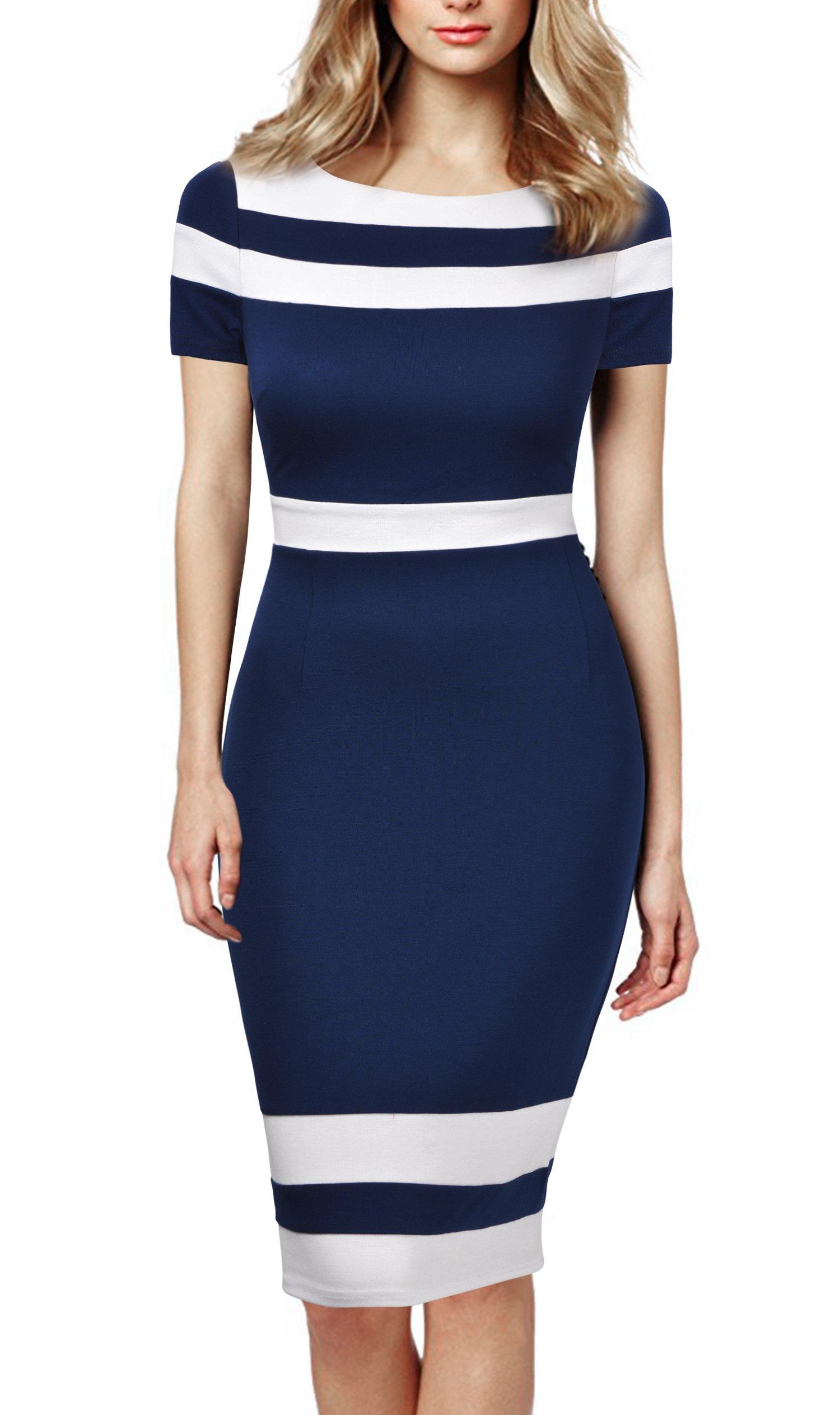 Mmondschein Women's Scoop Neck Optical Illusion Business Bodycon Dress S Blue