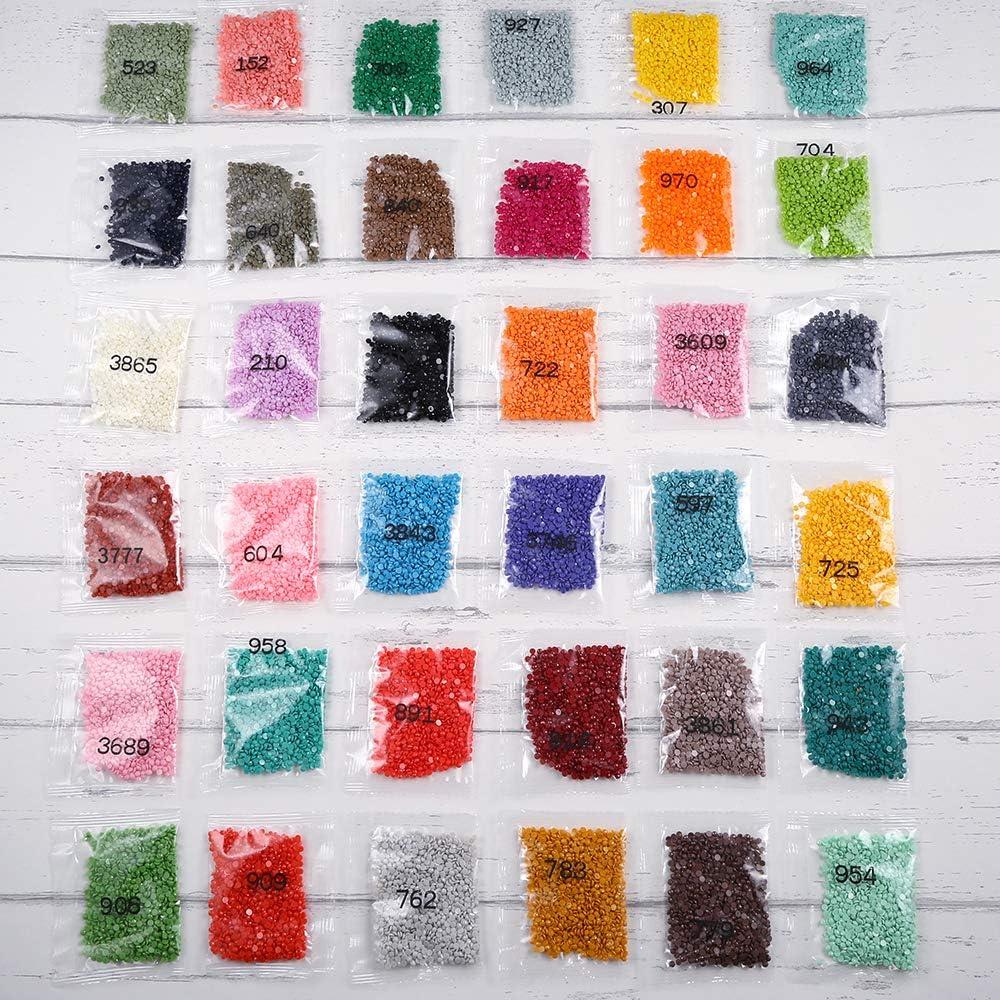 runde Diamanten und Zubeh/ör f/ür Diamantmalerei Handtasche Polyester Filz PP OPOUNT 5D Diamantmalerei-Set mit A4 LED-Licht Pad LED-Licht Lupe