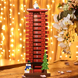 Juegoal 15 Inch Wooden Advent Calendar with 24 Days Removable Boards Countdown to Christmas Santa Claus for Christmas Decoration