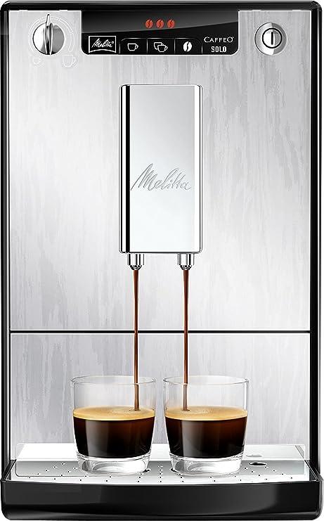 Melitta Caffeo Solo E950-111 - Cafetera Automática, 3 Niveles de Intensidad, Modo 2 Tazas, 1.2 Litros, Plata Orgánica