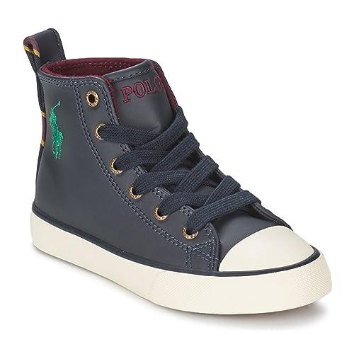 Polo Ralph Lauren - Zapatillas de Piel para niña Azul Azul Marino: Amazon.es: Zapatos y complementos
