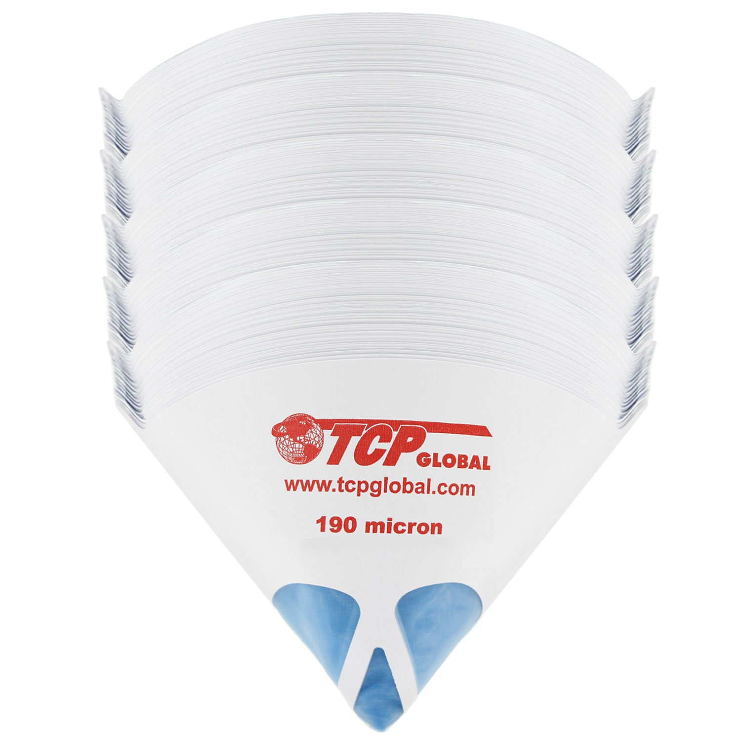 TCP Global 250 Pack of Paint Strainers with Fine 190 Micron Filter Tips - Premium ''PURE BLUE'' Ultra-Flow Blue Nylon Mesh - Cone Paint Filter Screen