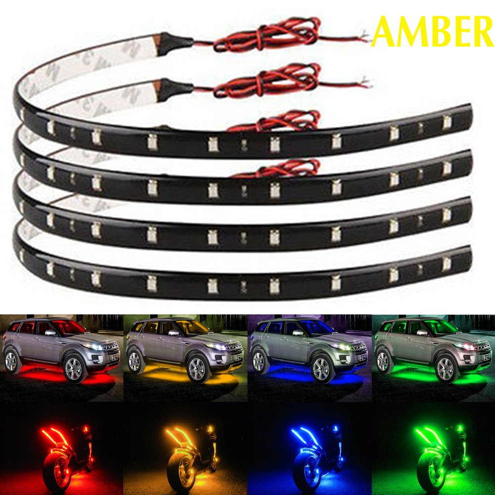 Amazon com everbright 4pcs super bright amber 30cm 5050 12 smd dc12v flexible waterproof led strip light for car interior exterior decoration boat bus