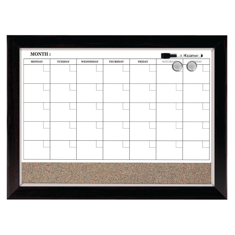 Quartet Dry Erase Calendar Board, Planner, Magnetic, Combo White Board & Cork Board, 17'' x 23'', Wood Finish Frame (22476)