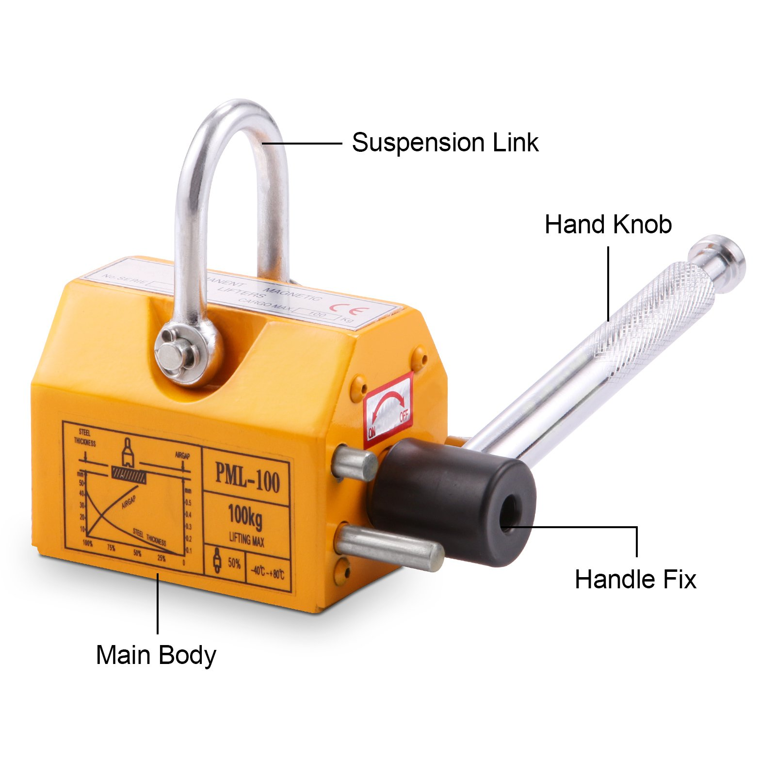 Popsport Steel Magnetic Lifter 220LBS Metal Lifting Magnet N45 Magnet Material Crane Hoist Lifting Magnet with Safety Factor of 3.5 for Lifting Steel Various Magnetic Materials (220LBS)