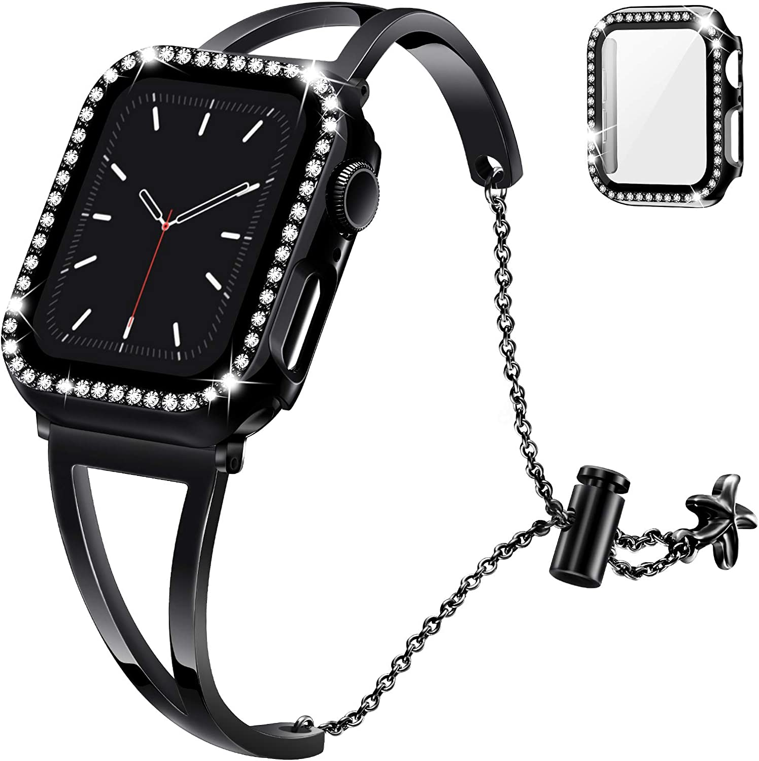 Recoppa Compatible with Apple Watch Band 40mm Series 6 5 4, Jewelry Bracelet Bangle Wristband and Bling Case with Tempered Glass Screen Protector for iWatch(Black/Black, 40mm)