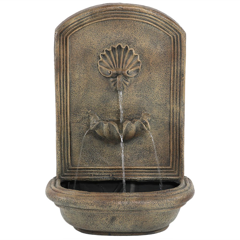 Sunnydaze Seaside Outdoor Wall Fountain, with Electric Submersible Pump 27-Inch, Florentine Stone Finish