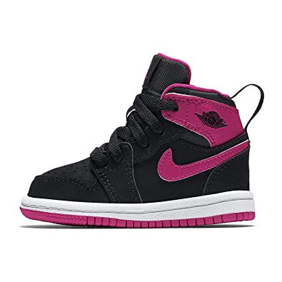 watch 73589 db6df Nike Toddler Girl s Retro 1 Hightop Fashion Sneaker Black Vivid Pink-White -Vivid