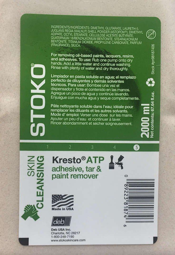 Kresto ATP [Cupran] Hand Cleanser 2000ml softbottle (pn98187406) + Dispenser (PN55980806) Combo: Amazon.com: Industrial & Scientific