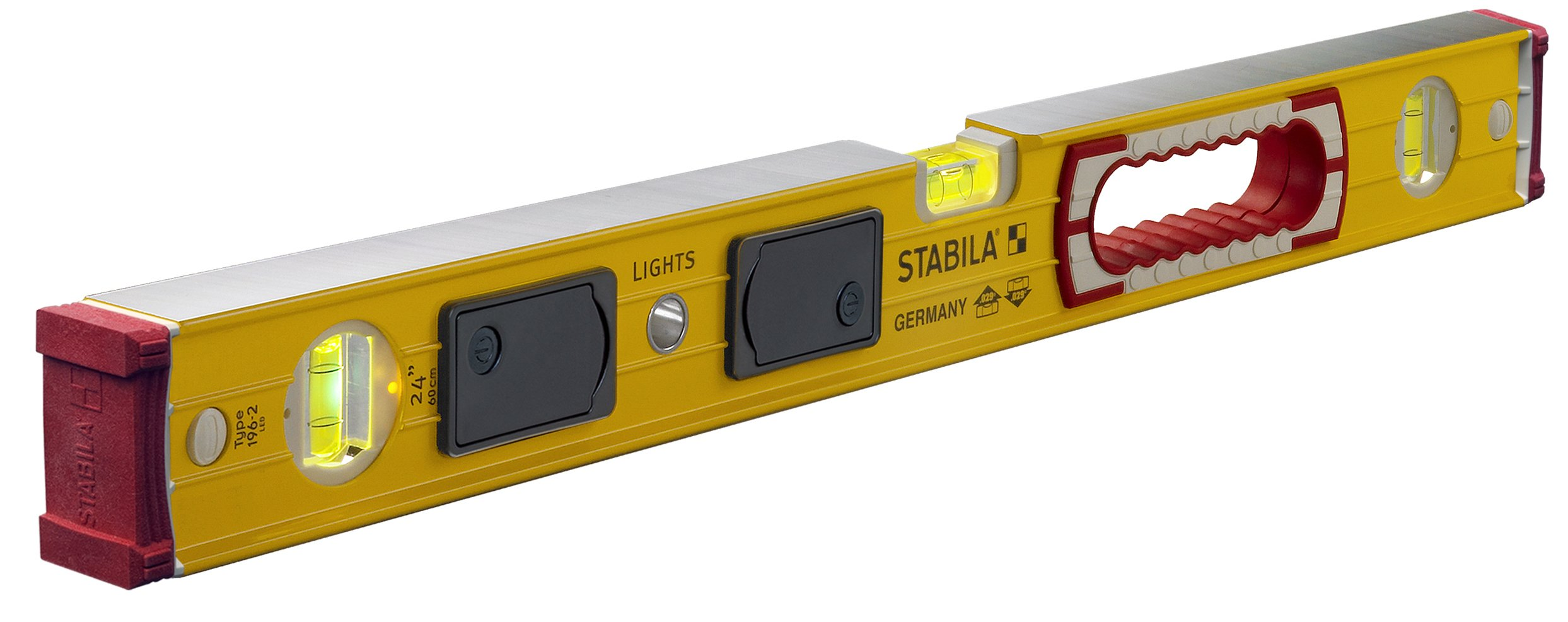 Stabila 39324 196 LED ''The Lights'' Level Kit, a 24'' Level with Two Illuminated Vials and Two Light Packs