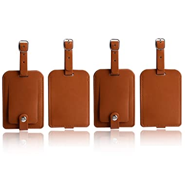 Luggage Bag Tags Leather Travel ID Labels Suitcase Name Tags with Snap (PU Brown 4 pack)