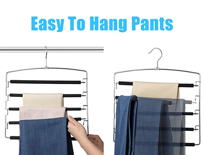 Amazon.com: MeetU - Perchas para pantalones, 5 capas, de ...