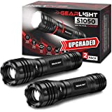 GearLight LED Flashlights S1050 [2 PACK] - Powerful High Lumens Zoomable Tactical Flashlight - Bright Small Flash Light for C