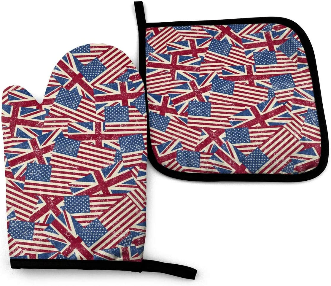 Us and UK Flag Funny Oven Mitts and Pot Holders Girls and Women Men Heat Resistant Kitchen Bake Gloves for BBQ Cooking Baking, Grilling
