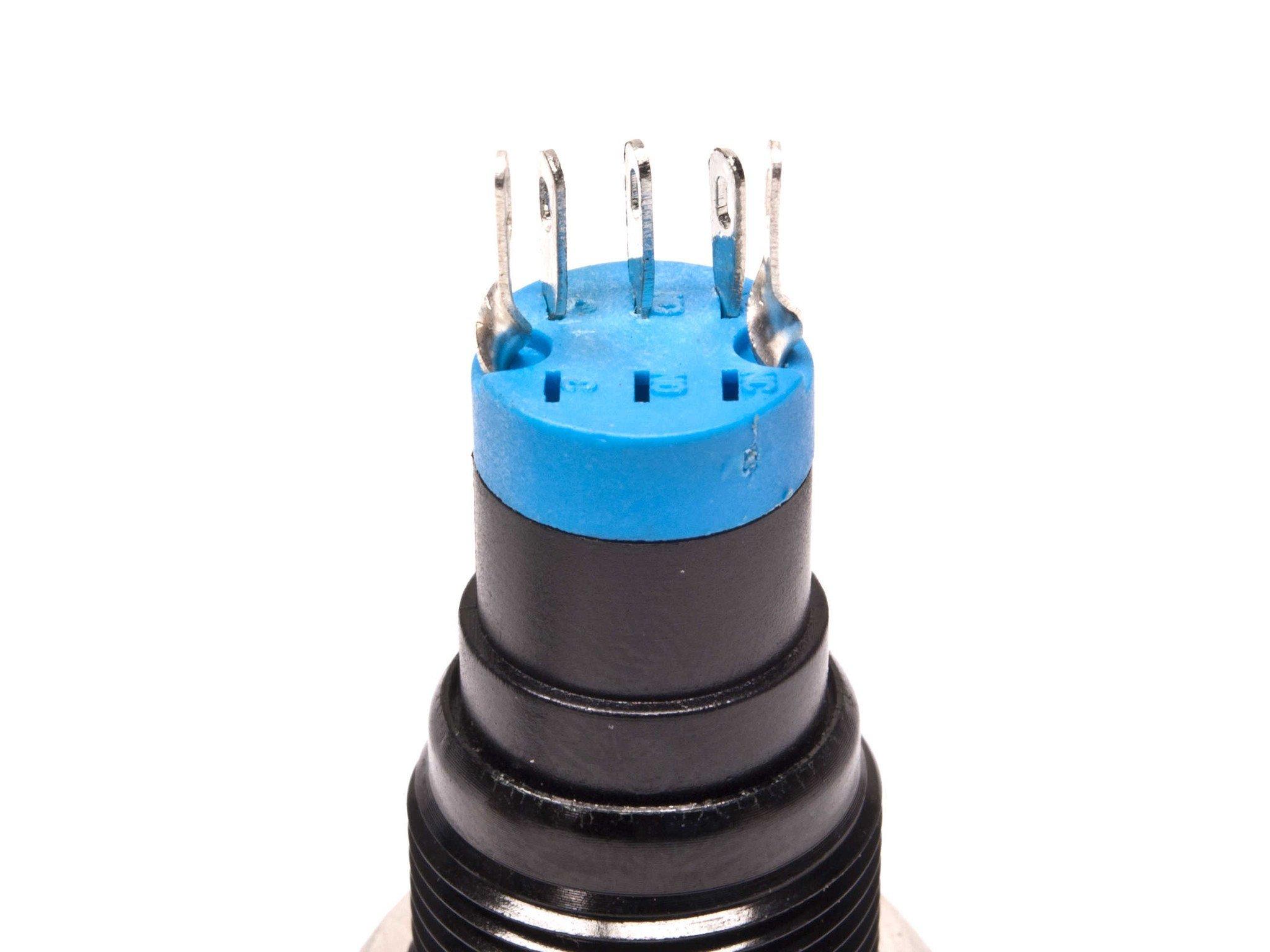 mod/smart Blue Illuminated Bulgin Style Momentary Vandal Switch - 16mm -Black Housing - Ring Illumination