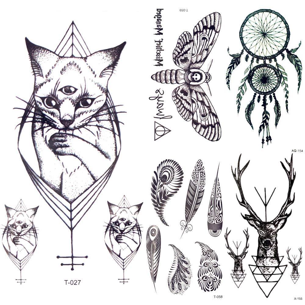 Tatuajes Temporales Adultos 10 5X6 Cm Negro Pequeño Gatos ...