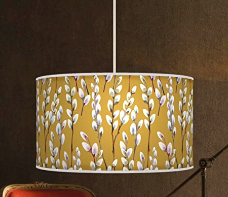 40cm 16 willow mustard yellow handmade lampshade giclee printed 40cm 16quot willow mustard yellow handmade lampshade giclee printed fabric pendant ceiling light mozeypictures Image collections